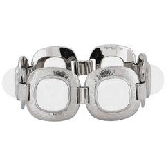Milky Quartz Hammered White Gold Bracelet