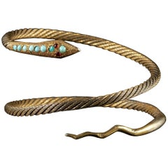 Antique French Snake Bangle Turquoise Garnet Silver Gilt, circa 1900