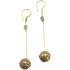 Champaign Diamonds Setted on 22K Gold Dangle Earrings