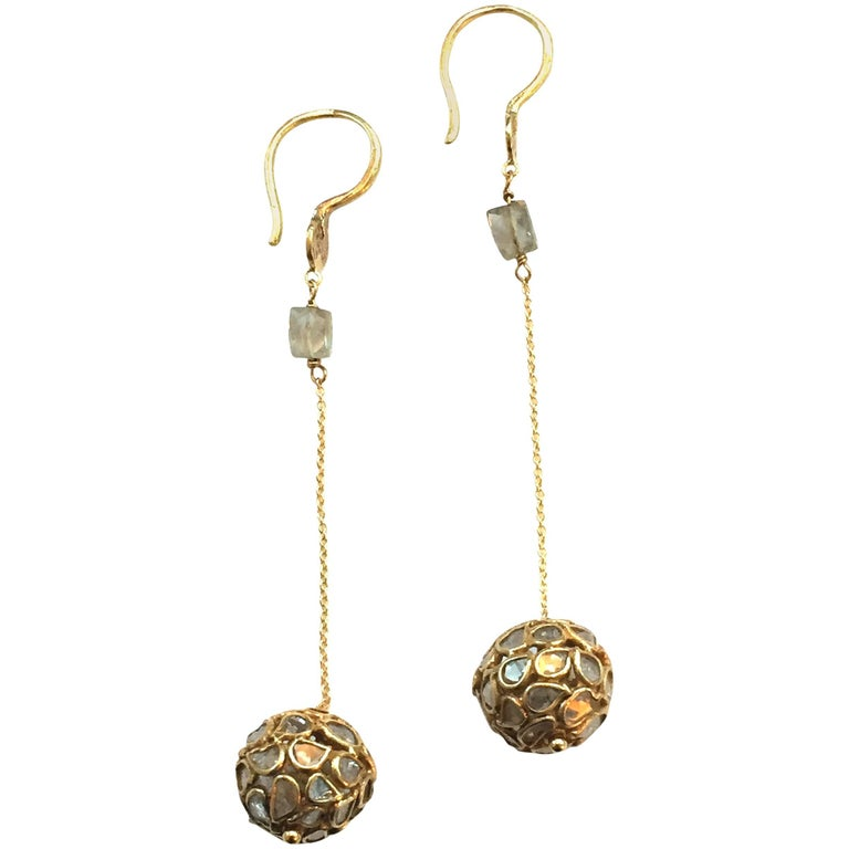 Champaign Diamonds Setted on 22K Gold Dangle Earrings For Sale