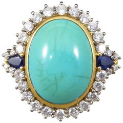 Large Turquoise, Sapphire and Diamond Cluster 18 Carat Gold Ring