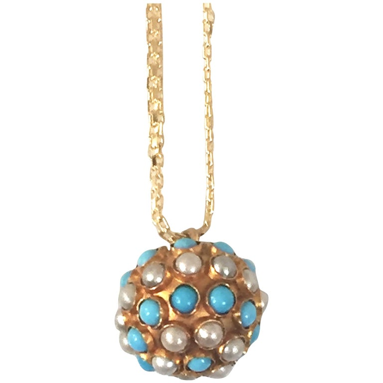 Turquoises, Pearls on a Vintage Pendant, 18 Carat Gold Long Necklace For Sale