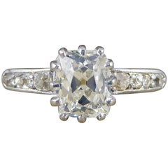 Antique 1.5ct Diamond Solitaire 18ct Engagement Ring with Diamond Shoulders