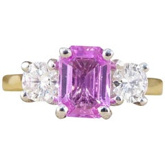 Pink Sapphire and Diamond Three-Stone Ring in 18 Carat Gold
