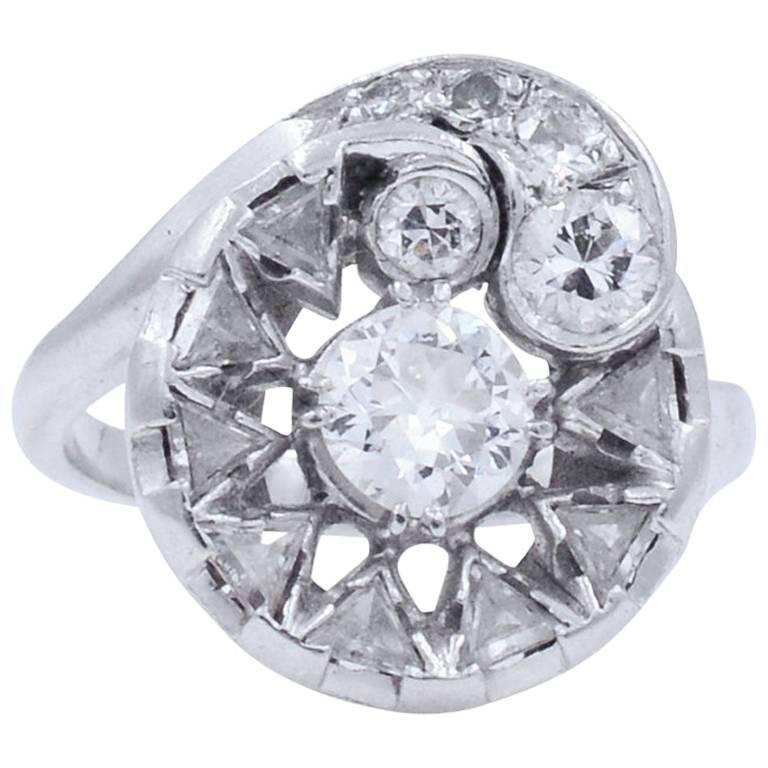 Edwardian Cluster Diamond Ring in Platinum with Old European and Trillion Cuts