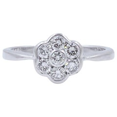 Edwardian Seven-Stone Round Cut Vintage Diamond Cluster Floral Motif Ring