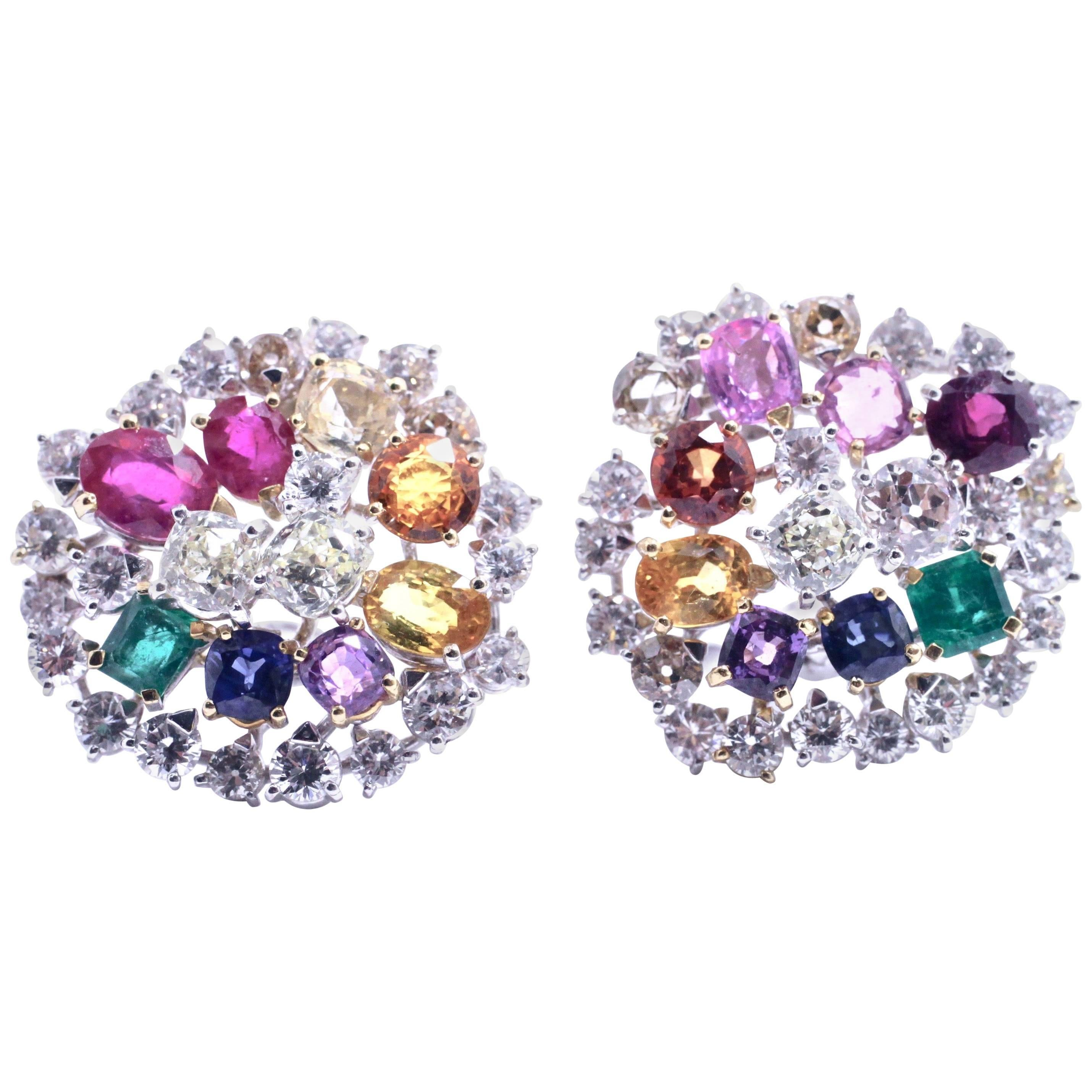 Diamonds Ruby Emerald Sapphire 18 kt. White Gold Cluster Earrings