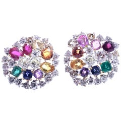 Diamonds Ruby Emerald Sapphire 18 kt. White Gold Cluster Earrings