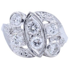 Edwardian Cluster Diamond Ring in Platinum with Old European Round Cuts