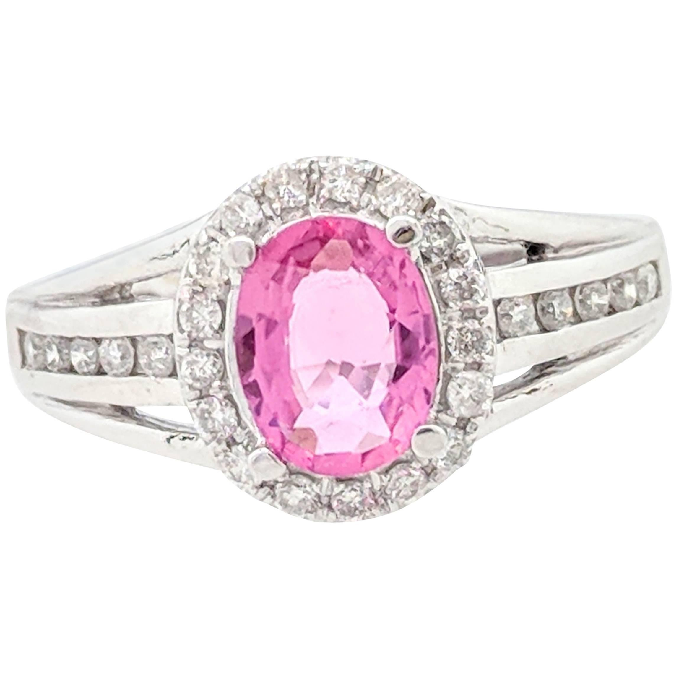 14 Karat White Gold 1.17 Carat Pink Tourmaline and Diamond Ring at ...