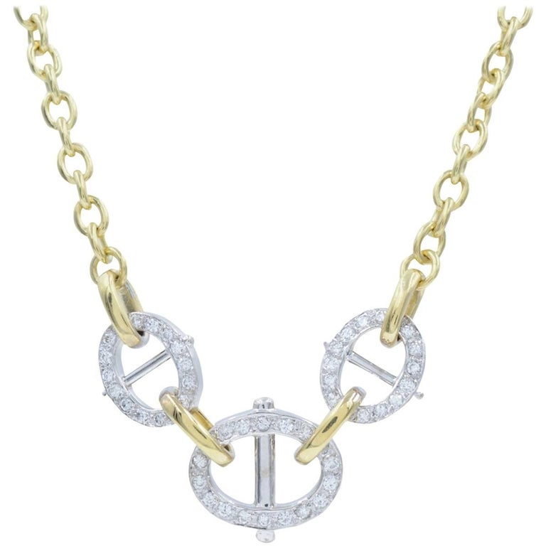Cartier Yellow Gold and White Gold Pave Diamond Link Two-Tone Necklace