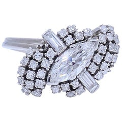 Retro Marquise and Round Diamond Ballerina Ring in Platinum