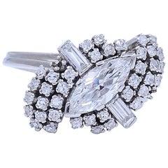 Retro Marquise and Round Diamond Ballerina Ring in Platinum