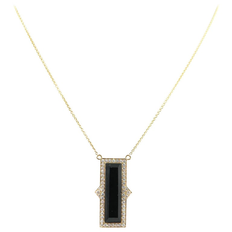 Black Onyx and Diamond Yellow Gold Pendant