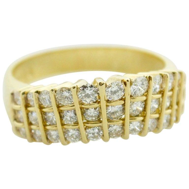 Stylish 18 Karat Yellow Gold Diamond Ring