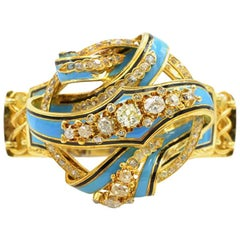 Victorian 18 Karat Gold Old Mine Cut Diamond Bracelet with Blue and Black Enamel