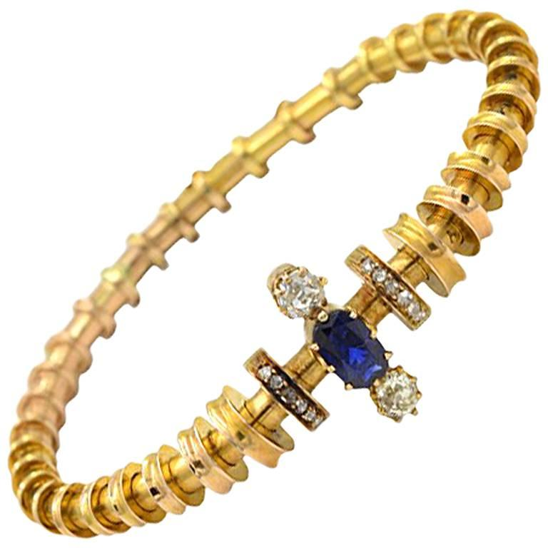 Victorian Sapphire and Diamond 14 Karat Gold Bracelet, circa 1900