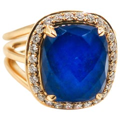 Lapis Lazuli and Diamond Yellow Gold Ring
