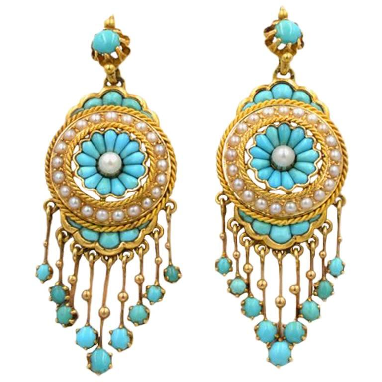 Antique Victorian 18 Karat Gold Chandelier Earrings with Turquoise and  Pearl For Sale - Antique Victorian 18 Karat Gold Chandelier Earrings With Turquoise