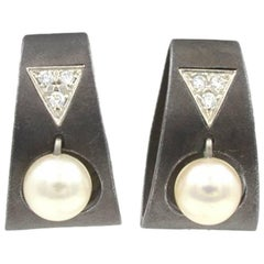 Marsh Blackened Stainless Steel Earrings with Pearls and Diamonds, circa 1930