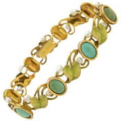 Art Nouveau 14 Karat Gold Enamel Bracelet with Turquoise, Serpentine and Pearls