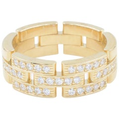 Yellow Gold Maillon Panthere Three-Half Pave Diamond Ring