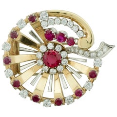 1950s Ruby and Diamond Substantial Brooch