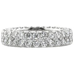 Mark Broumand 5.00 Carat Round Brilliant Cut Diamond Two-Row Eternity Band