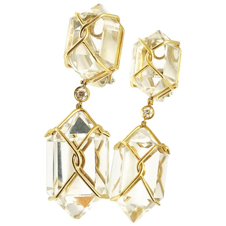"Verdura ""Herkimer"" Rock Crystal and Diamond Drop Earrings"