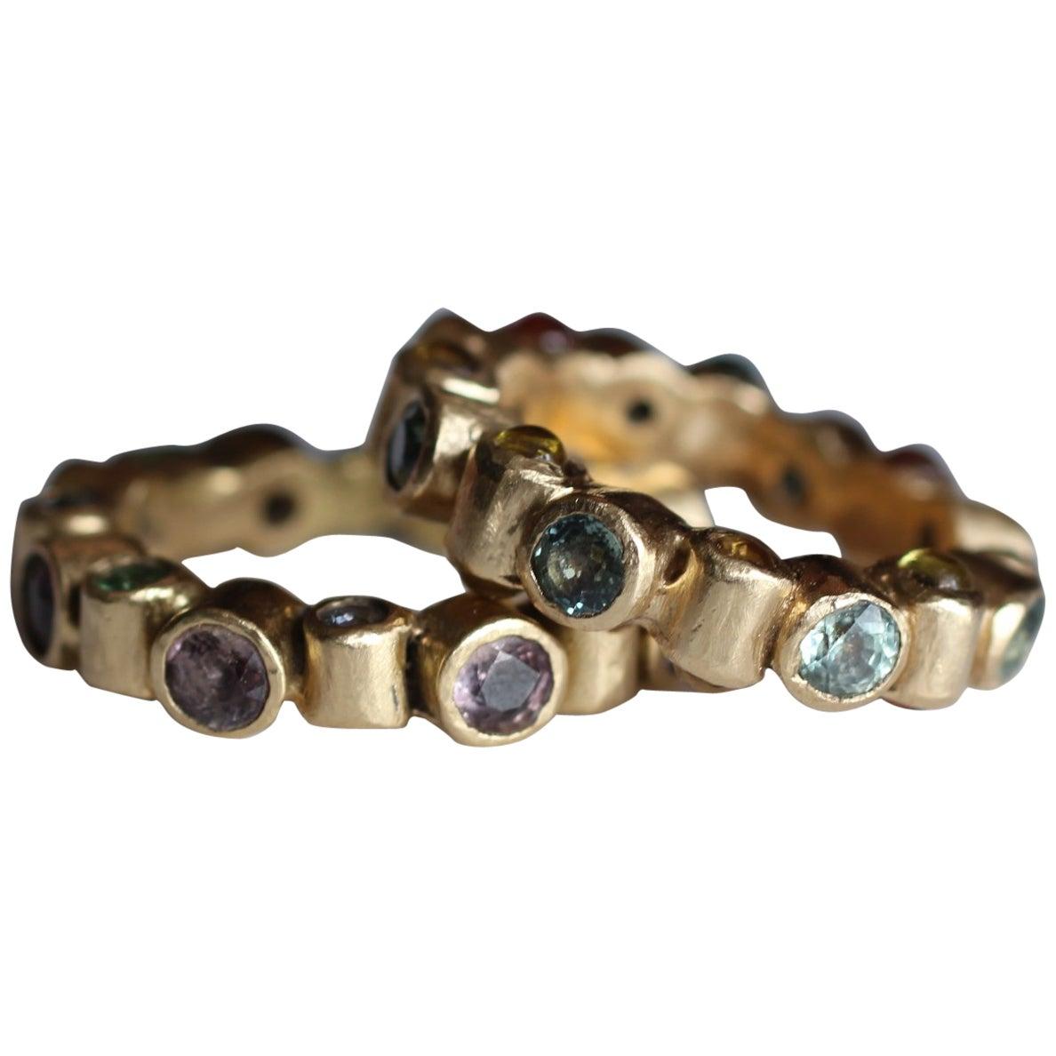 Sapphires Tsavorites Tanzanites 18K Solid Gold Fashion Band Ring