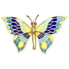 Plique à Jour Enamel and Ruby Gold Articulating Butterfly Brooch