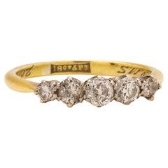 Vintage 18 Karat and Platinum Diamond Five-Stone Ring 0.53 Carat, circa 1927