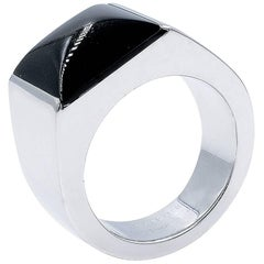 Cartier Black 18 Karat White Gold Large Onyx Tank Ring