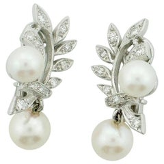 1950s Platinum and Gold Pearl and Diamond Earrings