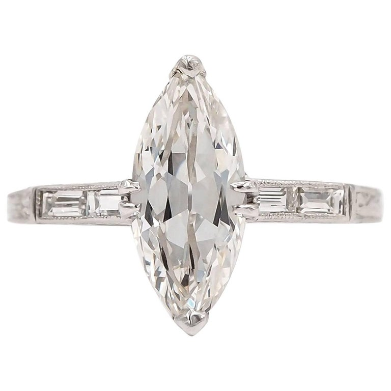 GIA Certified 1.75 Carat Antique Marquise Cut Diamond Art Deco Engagement Ring