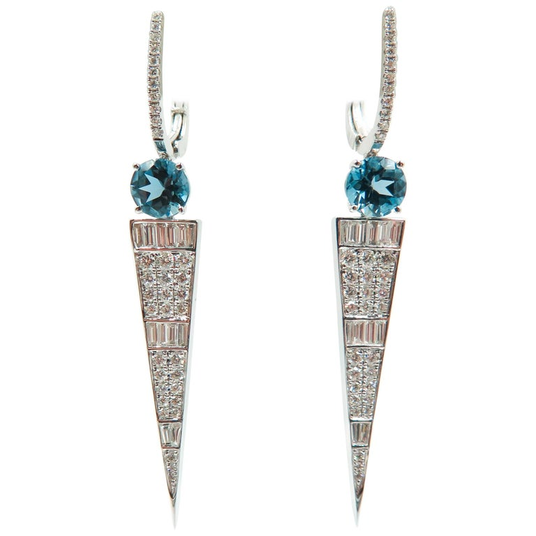 London Blue Topaz and Diamond White Gold Drop Earrings