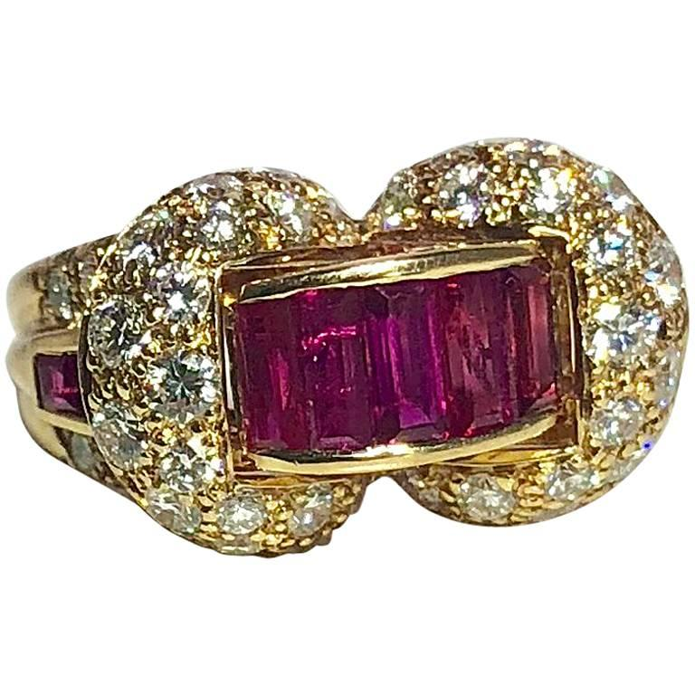 Oscar Heyman and Brothers 18 Karat Gold, Ruby and Diamond Cocktail Ring For Sale