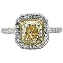Mark Broumand 2.82 Carat Fancy Yellow Radiant Cut Diamond Engagement Ring