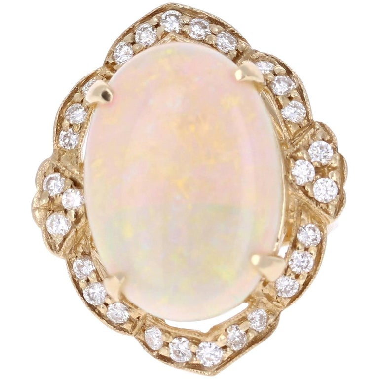 9.93 Carat Opal Diamond 14K Yellow Gold Ring