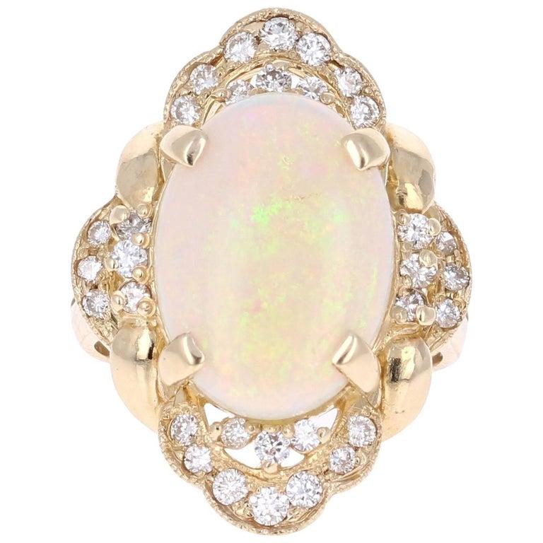 5.91 Carat Opal Diamond 14K Yellow Gold Ring
