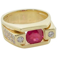 Burma Ruby and Diamond Ring in 18 Karat Yellow Gold