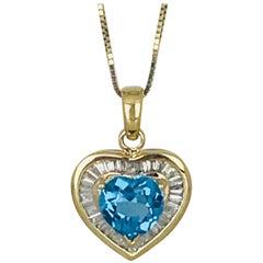Ballerina Baguette Diamond Heart, 14 Karat with Swiss, Heart Blue Topaz