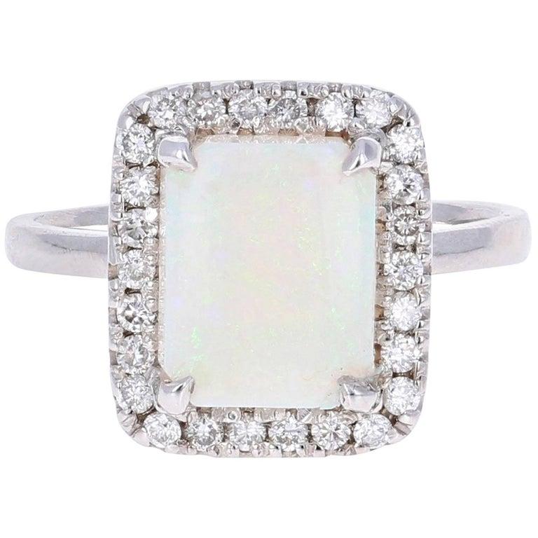 2.37 Carat Opal Diamond White Gold Ring