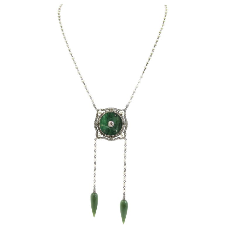 Edwardian Pearl Jade Diamond Platinum Sautoir Necklace