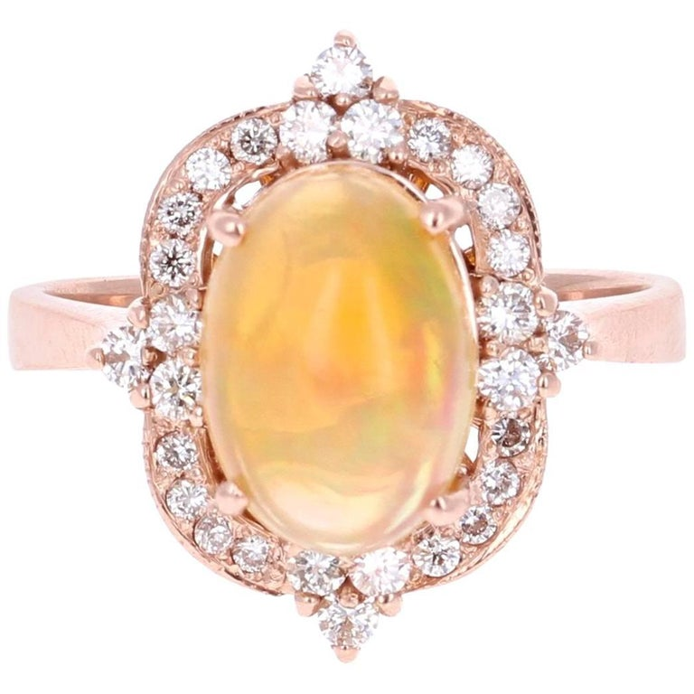 2.50 Carat Oval Cut Opal Diamond Rose Gold Victorian Style Ring
