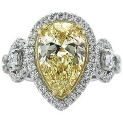 Mark Broumand 3.73 Carat Fancy Yellow Pear Shaped Diamond Engagement Ring