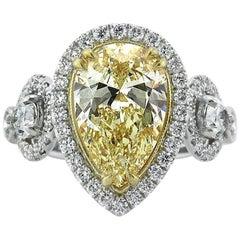 Mark Broumand 3.73 Carat Fancy Yellow Pear Shaped Diamond Engagement Ring