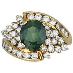 Green Sapphire 1.50 Carat Ring with 1.50 Carat Diamond, Retro Cluster