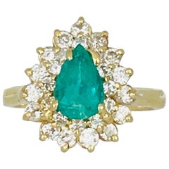 Colombian Pear Shaped 1.25 Carat Emerald with Diamonds, Retro Cluster