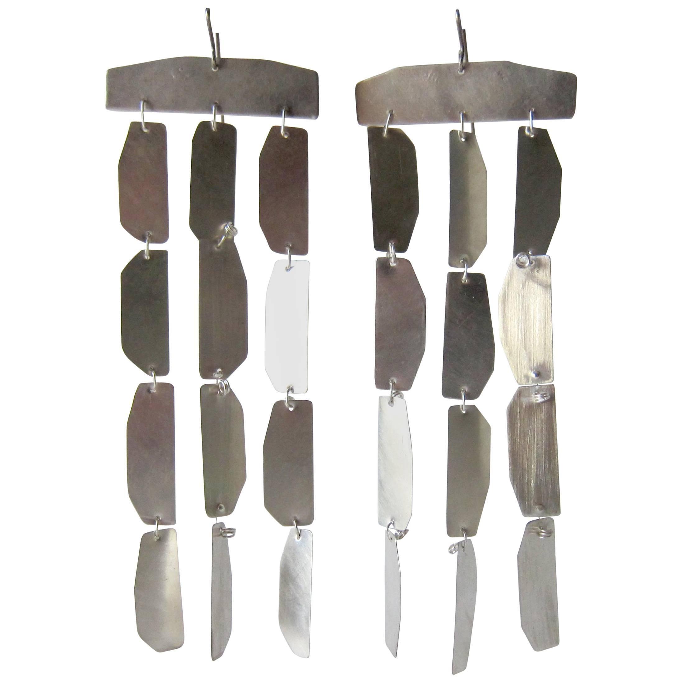 Heidi Abrahamson Long Brushed Sterling Silver Kinetic Earrings